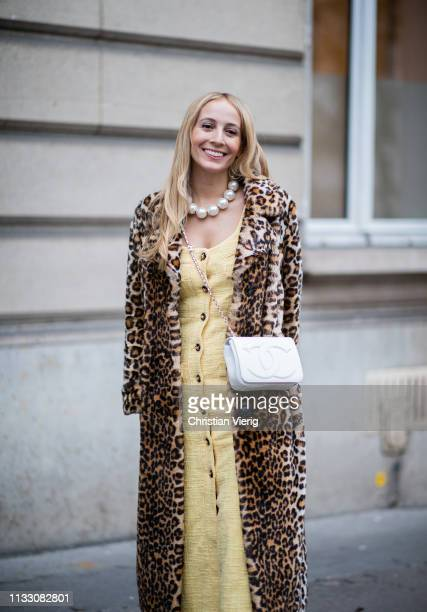 Harley VieraNewton is seen wearing coat with leopard print during Paris Fashion Week Womenswear Fall/Winter 2019/2020 on March 01 2019 in Paris France