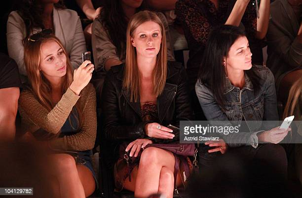 Harley Viera-Newton, Nicky Hilton and Liberty Ross attend the Odd Molly Spring 2011 fashion show during Mercedes-Benz Fashion Week at The Studio at...