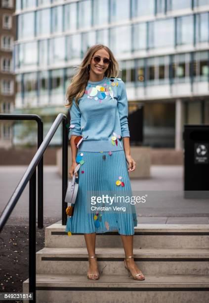 Harley VieraNewton wearing blue skirt and knit outside Christopher Kane during London Fashion Week September 2017 on September 18 2017 in London...