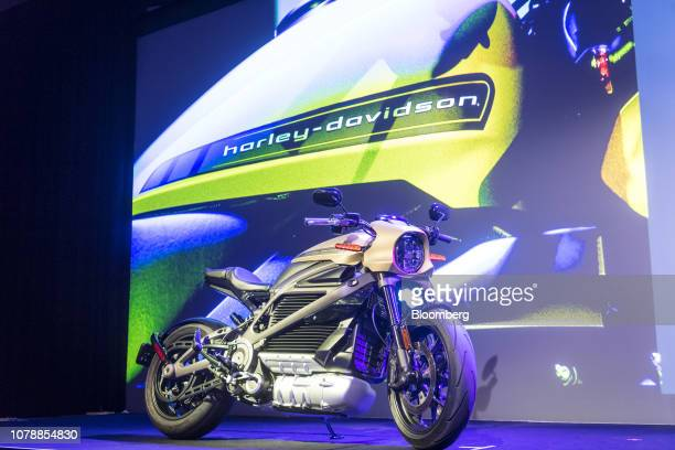 A HarleyDavidson Inc Livewire electric motorcycle is displayed during a Panasonic Corp event at the 2019 Consumer Electronics Show in Las Vegas...