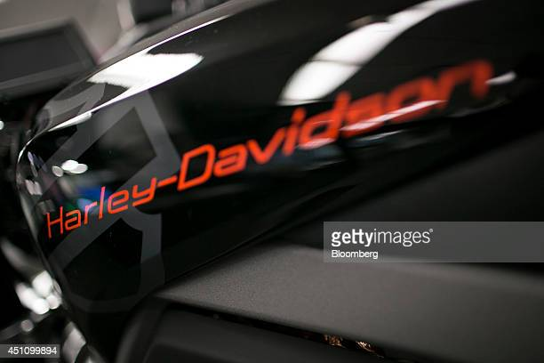 A HarleyDavidson Inc LiveWire electric motorcycle sits parked in the Bloomberg Television studios in New York US on Monday June 23 2014...