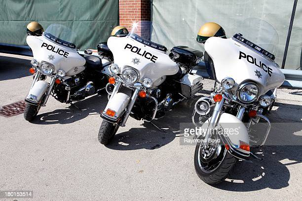 HarleyDavidson Las Vegas police motorcycles sits at the Police Skills Competition at the Summerfest Grounds to commemorate the HarleyDavidson 110th...