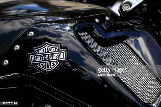 HarleyDavidson logo adorns a bike outside of the HarleyDavidson of New York City showroom store June 25 2018 in the Queens borough of New York City...