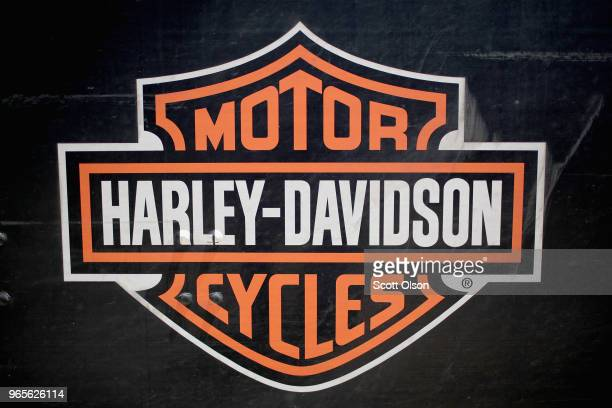 HarleyDavidson logo is painted on a truck parked outside of the company's Powertrain Operations plant on June 1 2018 in Menomonee Falls Wisconsin The...