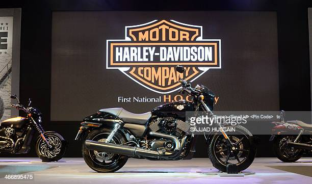 HarleyDavidson motorbikes are displayed at the Auto Expo 2014 in Greater Noida on the outskirts of New Delhi on February 5 2014 The 12th edition of...