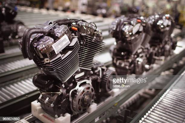 HarleyDavidson motorcycle engines are assembled at the company's Powertrain Operations plant on June 1 2018 in Menomonee Falls Wisconsin The European...