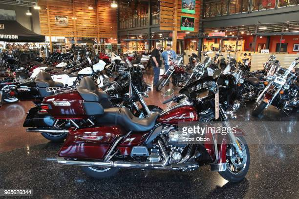 HarleyDavidson motorcycles are offered for sale at the Uke's HarleyDavidson dealership on June 1 2018 in Kenosha Wisconsin The European Union said it...