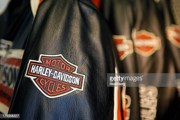 A HarleyDavidson motorcycles logo is displayed on the sleeve of a leather jacket for sale at Bartels' dealership in Marina del Rey California US on...