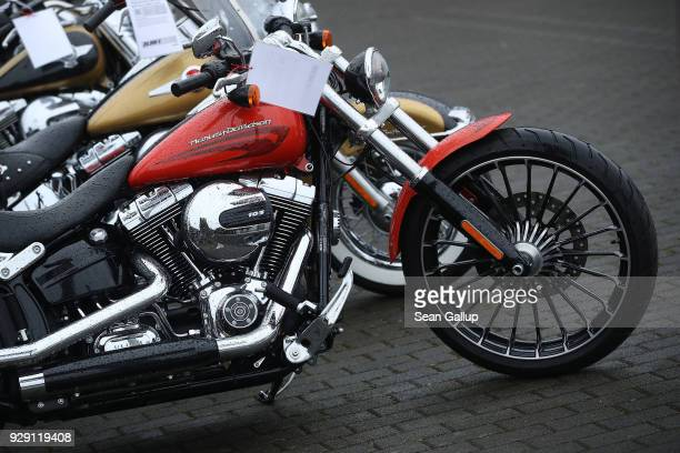 HarleyDavidson motorcycles stand on display at a dealership on March 8 2018 in Potsdam Germany US President Donald Trump has promised to authorize...