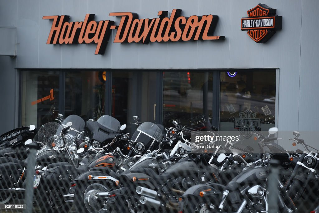 Harley-Davidson motorcycles stand on display at a dealership on March 8, 2018 in Potsdam, Germany. U.S. President Donald Trump has promised to authorize tariffs on imported steel and aluminum today and the European Commission has vowed to retaliate with tariffs on Levi's jeans, Kentucky bourbon and Harley-Davidson motorcycles. Many analysts fear the tariffs could escalate and hence cost jobs on both sides of the Atlantic. The European Union and Canada are the world's biggest exporters of steel to the United States.