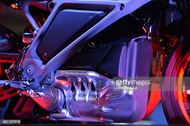 A HarleyDavidson Project LiveWire motorcycle the company's first electric motorcycle during a preview June 23 2014 at a HarleyDavidson dealer in New...