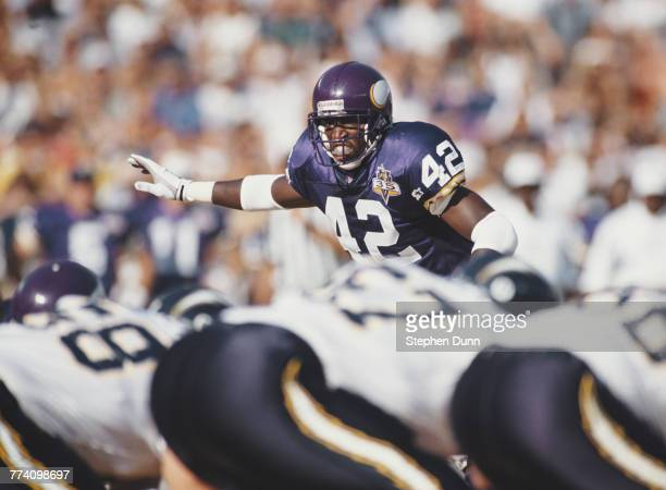 Harlon Barnett Strong Safety for the Minnesota Vikings during the American Football Conference pre season game against the San Diego Chargers on 7...