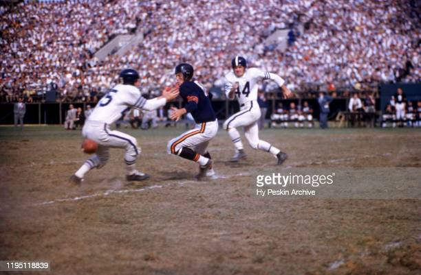 Harlon Hill of the Chicago Bears fumbles the ball as L.G. Dupre and Bert Rechichar of the Baltimore Colts defend during an NFL game on September 25,...
