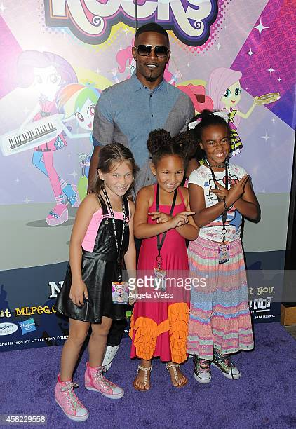Harlow Rocca Jamie Foxx Annalise Bishop and Gabby Brown attend the premiere of Hasbro Studios' 'My Little Pony Equestria Girls Rainbow Rocks' at TCL...