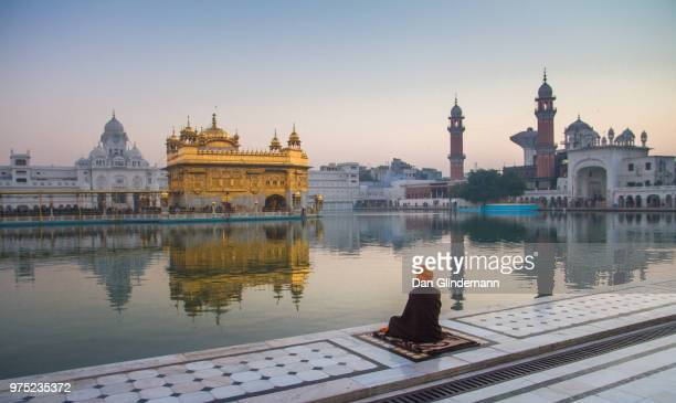 harmandir sahib, golden temple, in amristar, punjab, india. - amritsar stock pictures, royalty-free photos & images