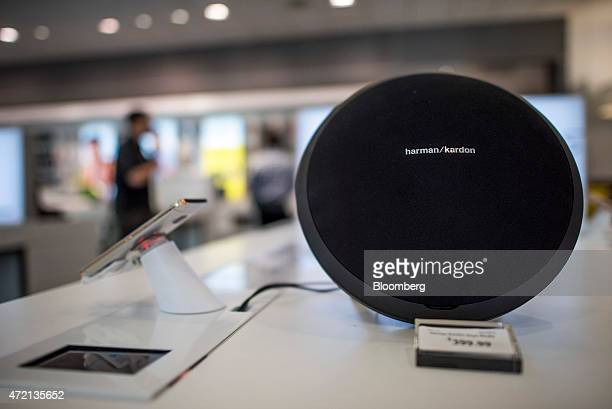 Harman/Kardon speaker, manufactured by Harman International Industries, is displayed at a Sprint Corp. Store in Palo Alto, California, U.S., on...
