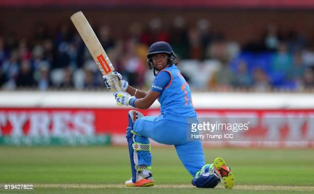 Harmanpreet Kaur of India bats during the ICC Women's World Cup 2017 match between Australia and India at The 3aaa County Ground on July 20 2017 in...
