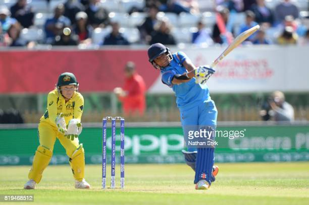 Harmanpreet Kaur of India batting during the SemiFinal ICC Women's World Cup 2017 match between Australia and India at The 3aaa County Ground on July...