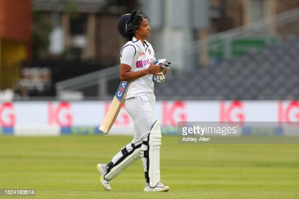 Harmanpreet Kaur of India is dismissed by Sophie Ecclestone of England on Day Three of the LV= Insurance Test Match between England Women and India...