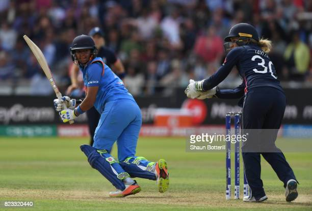 Harmanpreet Kaur of India plays a shot during the ICC Women's World Cup 2017 Final between England and India at Lord's Cricket Ground on July 23 2017...