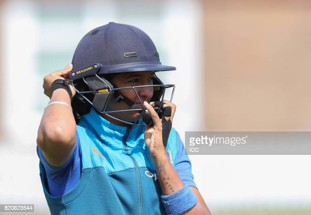 Harmanpreet Kaur of India takes part in a traing session before The Women's World Cup 2017 final between England and India at Lord's Cricket Ground...