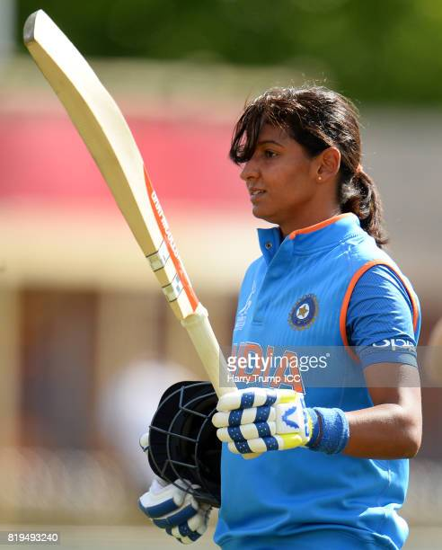 Harmanpreet Kaur of India walks off after scoring 171 not out during the ICC Women's World Cup 2017 match between Australia and India at The 3aaa...