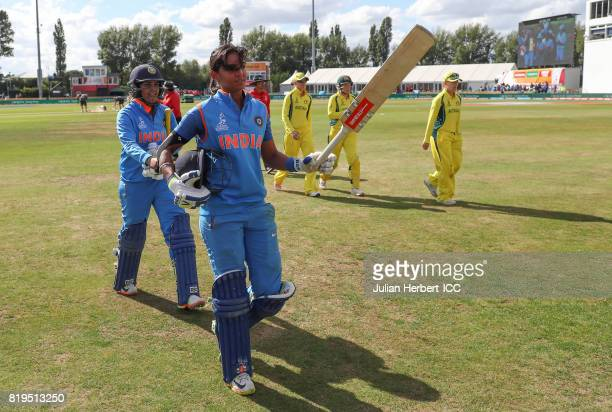 Harmanpreet Kaur of India walks off at the ebnd of the Indian innings during The Womens World Cup 2017 SemiFinal between Australia and India at The...
