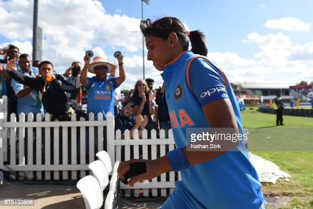 Harmanpreet Kaur of India walks to the changing rooms after scoring 171 during the SemiFinal ICC Women's World Cup 2017 match between Australia and...