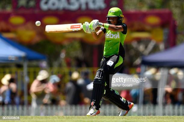 Harmanpreet Kaur of the Thunder bats during the Women's Big Bash League match between the Sydney Thunder and the Perth Scorchers at Lilac Hill on...