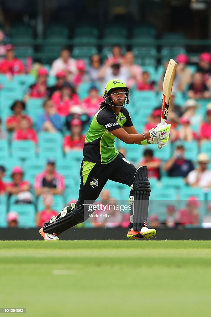 Harmanpreet Kaur of the Thunder bats during the Women's Big Bash League match between the Sydney Sixers and the Sydney Thunder at Sydney Cricket Ground on January 13, 2018 in Sydney, Australia.
