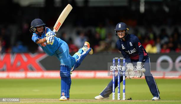 Harmanpreet Kaut of India bats during the ICC Women's World Cup 2017 Final between England and India at Lord's Cricket Ground on July 23 2017 in...