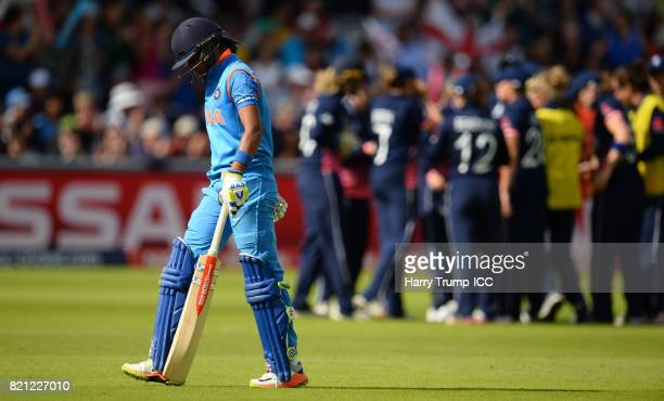 Harmanpreet Kaut of India walks off after being dismissed during the ICC Women's World Cup 2017 Final between England and India at Lord's Cricket...