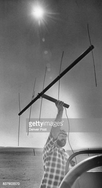Harmata a double amputee holds up his homemade receiver antenna while tracking one of eagles near Wyoming border Credit Denver Post