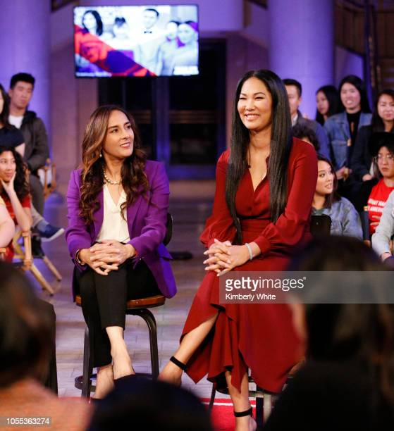 Harmeet Dhillon and Kimora Lee Simmons record a TV debate for Take On America With OZY at The Bently Reserve on October 29 2018 in San Francisco...