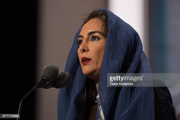Harmeet Dhillon delivers the invocation before the start of the second day of the Republican National Convention on July 19 2016 at the Quicken Loans...