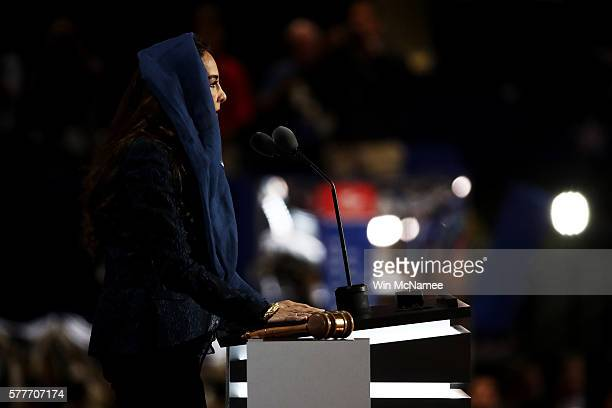 Harmeet Dhillon Vice Chair of the CA Republican Party prays during the opening of the second day of the Republican National Convention on July 19...