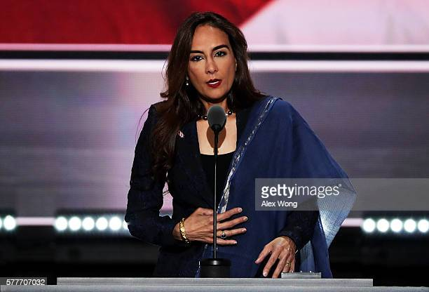 Harmeet Dhillon Vice Chair of the CA Republican Party speaks on the second day of the Republican National Convention on July 19 2016 at the Quicken...