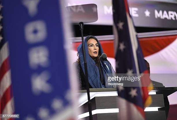 Harmeet Dhillon vice chair of the Republican Party of California speaks during the Republican National Convention in Cleveland Ohio US on Tuesday...