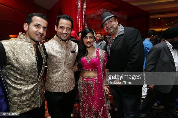 Harmeet Singh Manmeet Singh and Shivani Kashyap during prewedding party of singer Daler Mehndi's daughter Ajit Kaur with Navraj Singh son of singer...