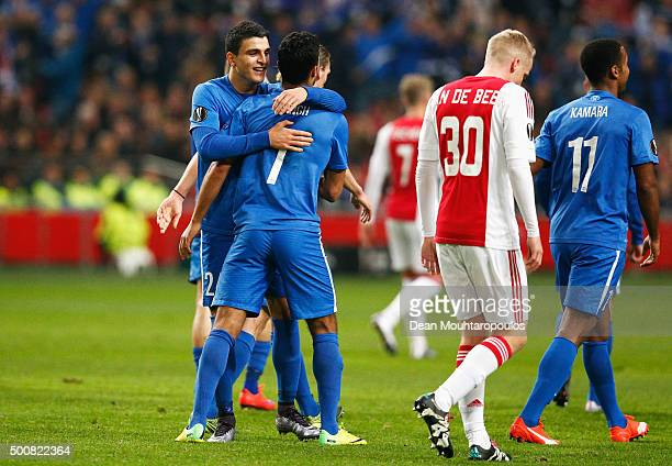 Harmeet Singh of Molde FK celebrates scoring his teams first goal of the game during the group A UEFA Europa League match between AFC Ajax and Molde...