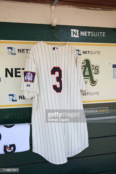 Harmon Killebrew jersey hangs in the Minnesota Twins dugout before the game between the Oakland Athletics and the Minnesota Twins at the...
