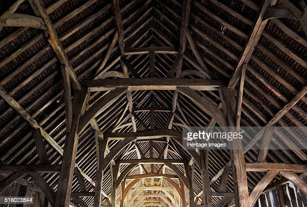 Harmondsworth Great Barn, Hillingdon, London, 2012. Interior view. A medieval timber framed barn built in 1426-1427 by Winchester College, the Great...
