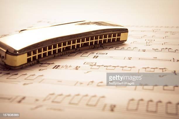 A harmonica on a sheet of music