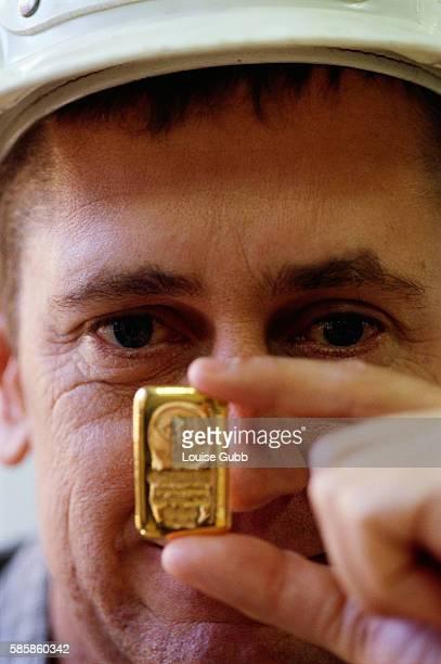 Harmony CEO Bernard Swanepoel Holding Gold Nugget
