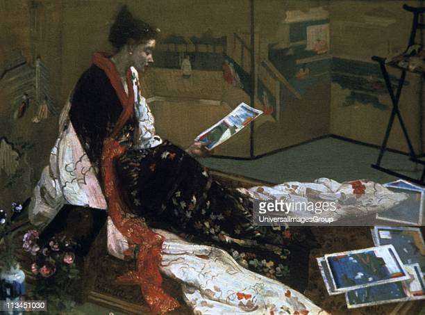 Harmony in Purple and Gold Golden Screen' 1864 James Abbott McNeill Whistler Americanborn artist European woman in kimono seated on floor folding...