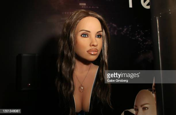 Harmony RealDoll customizable sex robot head by Abyss Creations is displayed at the 2020 AVN Adult Entertainment Expo at the Hard Rock Hotel Casino...