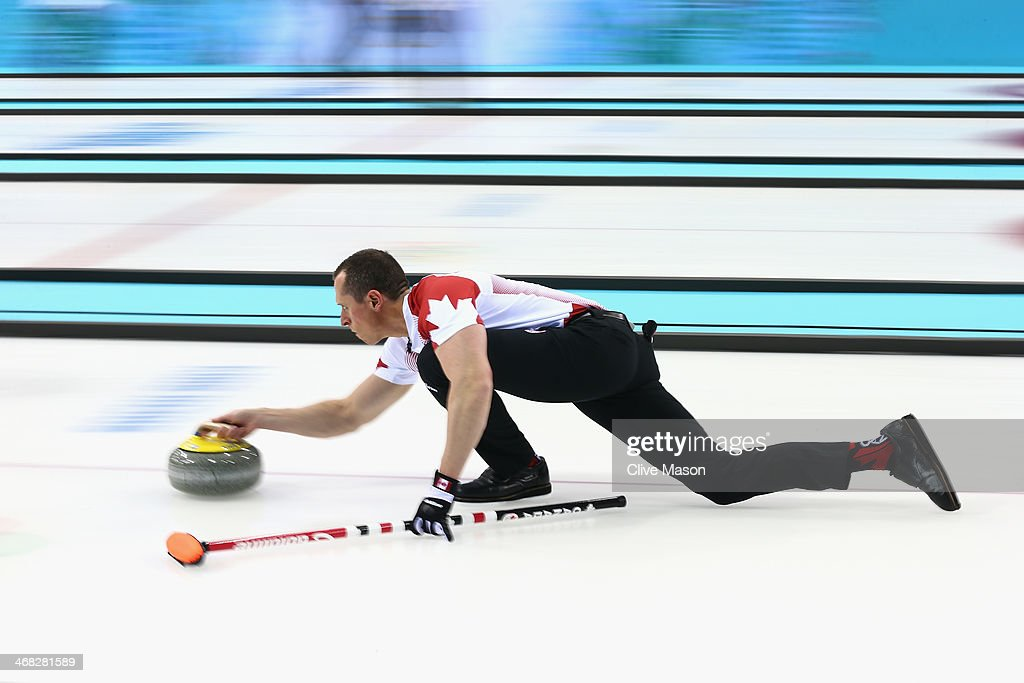 Harnden of Canada in action during the round robin match against Germany during day 3 of the Sochi 2014 Winter Olympics at Ice Cube Curling Center on February 10, 2014 in Sochi, Russia.