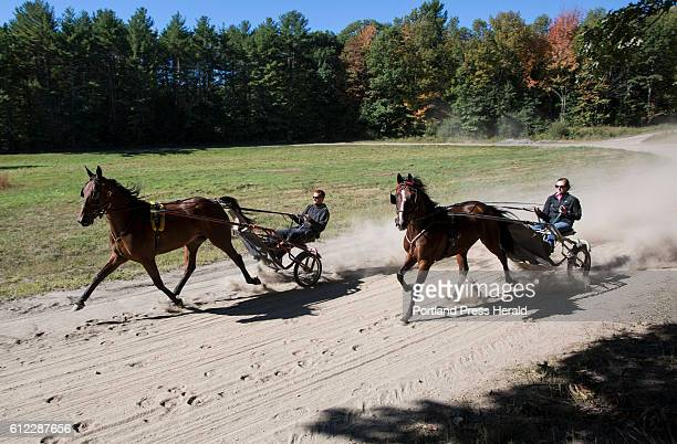Harness racing driver Nick Graffam left and his sister Beth jog horses Panesthetic and Sailor Jerry respectively at Norton Farm in Falmouth where...
