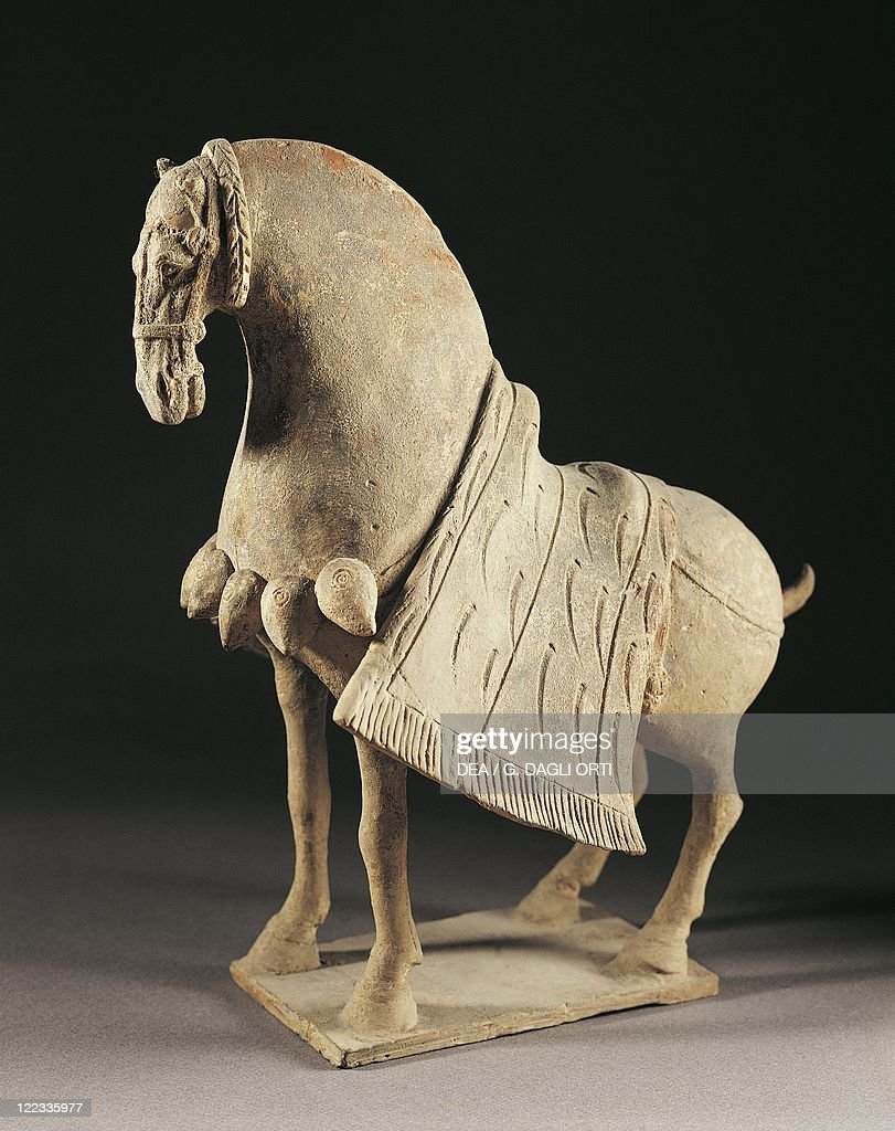 Harnessed horse, northern wei dynasty, terracotta : Photo d'actualité