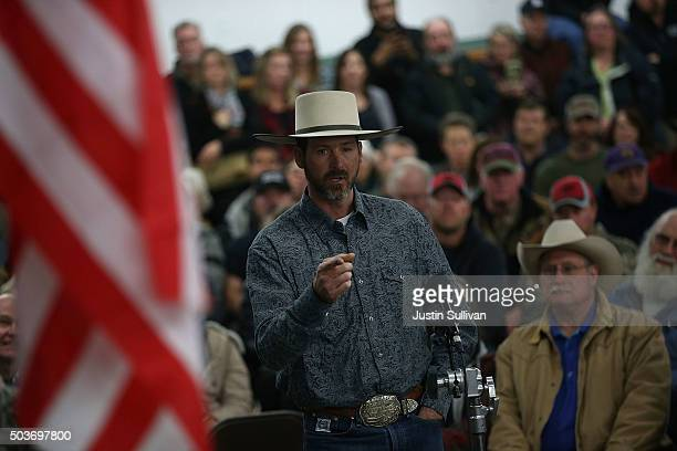 Harney County resident speaks during a community meeting at the Harney County fairground on January 6 2016 in Burns Oregon Hundreds of Harney County...